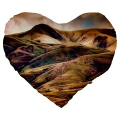 Iceland Mountains Sky Clouds Large 19  Premium Heart Shape Cushions