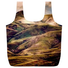 Iceland Mountains Sky Clouds Full Print Recycle Bags (l)
