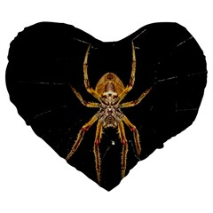 Insect Macro Spider Colombia Large 19  Premium Flano Heart Shape Cushions