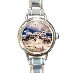 Italy Landscape Mountains Winter Round Italian Charm Watch