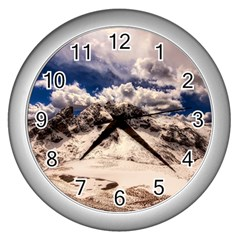 Italy Landscape Mountains Winter Wall Clocks (silver)