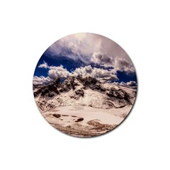 Italy Landscape Mountains Winter Rubber Coaster (round)