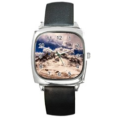 Italy Landscape Mountains Winter Square Metal Watch