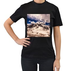 Italy Landscape Mountains Winter Women s T Shirt (black) (two Sided)