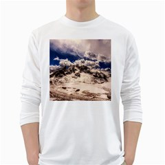 Italy Landscape Mountains Winter White Long Sleeve T Shirts