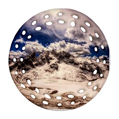 Italy Landscape Mountains Winter Round Filigree Ornament (two Sides)
