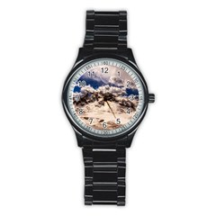 Italy Landscape Mountains Winter Stainless Steel Round Watch