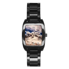 Italy Landscape Mountains Winter Stainless Steel Barrel Watch