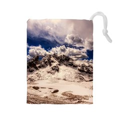 Italy Landscape Mountains Winter Drawstring Pouches (large)