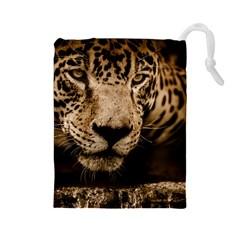 Jaguar Water Stalking Eyes Drawstring Pouches (large)
