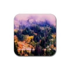 Landscape Fog Mist Haze Forest Rubber Square Coaster (4 Pack)
