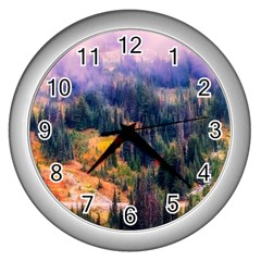 Landscape Fog Mist Haze Forest Wall Clocks (silver)