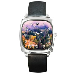 Landscape Fog Mist Haze Forest Square Metal Watch
