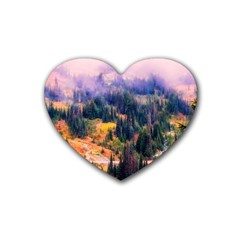 Landscape Fog Mist Haze Forest Heart Coaster (4 Pack)