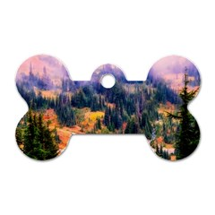 Landscape Fog Mist Haze Forest Dog Tag Bone (two Sides)