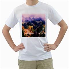 Landscape Fog Mist Haze Forest Men s T Shirt (white)