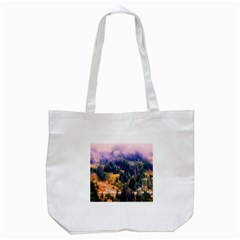 Landscape Fog Mist Haze Forest Tote Bag (white)