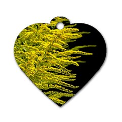 Golden Rod Gold Diamond Dog Tag Heart (one Side)