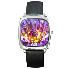 Flower Blossom Bloom Nature Square Metal Watch
