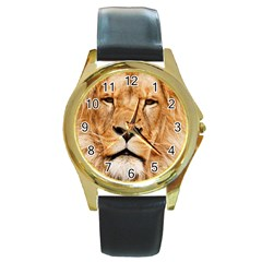 Africa African Animal Cat Close Up Round Gold Metal Watch