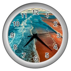 Sea Ocean Coastline Coast Sky Wall Clocks (silver)