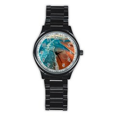 Sea Ocean Coastline Coast Sky Stainless Steel Round Watch