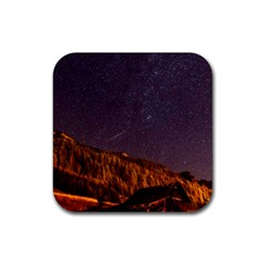 Italy Cabin Stars Milky Way Night Rubber Square Coaster (4 Pack)