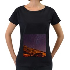 Italy Cabin Stars Milky Way Night Women s Loose Fit T Shirt (black)