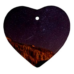 Italy Cabin Stars Milky Way Night Heart Ornament (two Sides)