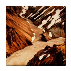 Iceland Mountains Snow Ravine Tile Coasters