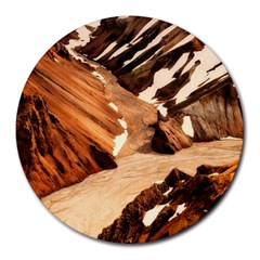 Iceland Mountains Snow Ravine Round Mousepads