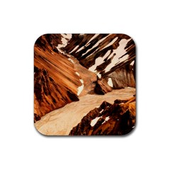 Iceland Mountains Snow Ravine Rubber Square Coaster (4 Pack)