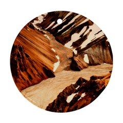 Iceland Mountains Snow Ravine Round Ornament (two Sides)