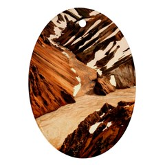 Iceland Mountains Snow Ravine Oval Ornament (two Sides)