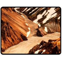 Iceland Mountains Snow Ravine Double Sided Fleece Blanket (medium)