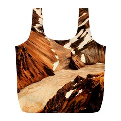 Iceland Mountains Snow Ravine Full Print Recycle Bags (l)