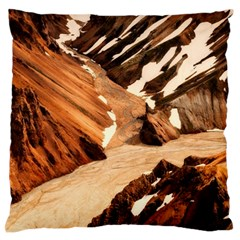Iceland Mountains Snow Ravine Large Flano Cushion Case (two Sides)