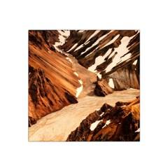 Iceland Mountains Snow Ravine Satin Bandana Scarf