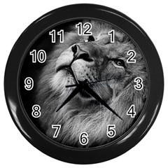 Feline Lion Tawny African Zoo Wall Clocks (black)