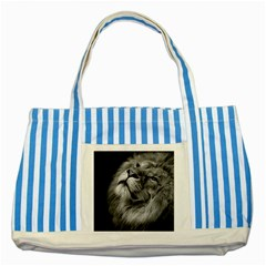 Feline Lion Tawny African Zoo Striped Blue Tote Bag