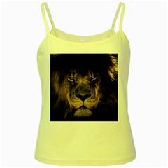 African Lion Mane Close Eyes Yellow Spaghetti Tank