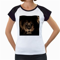 African Lion Mane Close Eyes Women s Cap Sleeve T