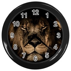 African Lion Mane Close Eyes Wall Clocks (black)