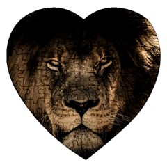 African Lion Mane Close Eyes Jigsaw Puzzle (heart)