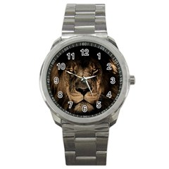 African Lion Mane Close Eyes Sport Metal Watch