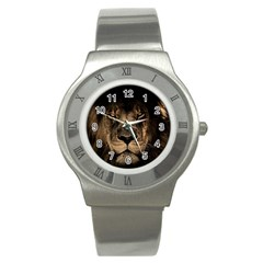 African Lion Mane Close Eyes Stainless Steel Watch