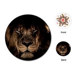 African Lion Mane Close Eyes Playing Cards (round)