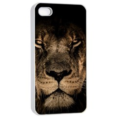 African Lion Mane Close Eyes Apple Iphone 4/4s Seamless Case (white)