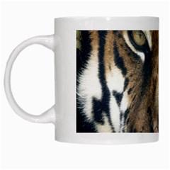 Tiger Bengal Stripes Eyes Close White Mugs