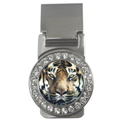 Tiger Bengal Stripes Eyes Close Money Clips (cz)